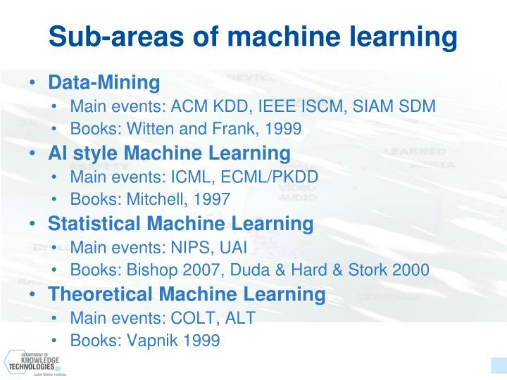 Sub-areas of machine learning