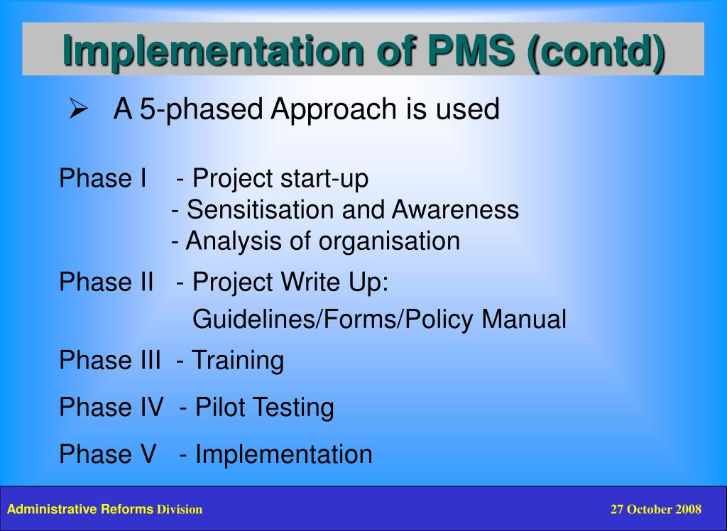 Implementation of PMS (contd)