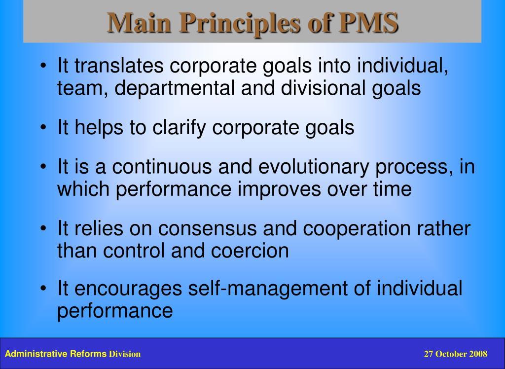 Main Principles of PMS