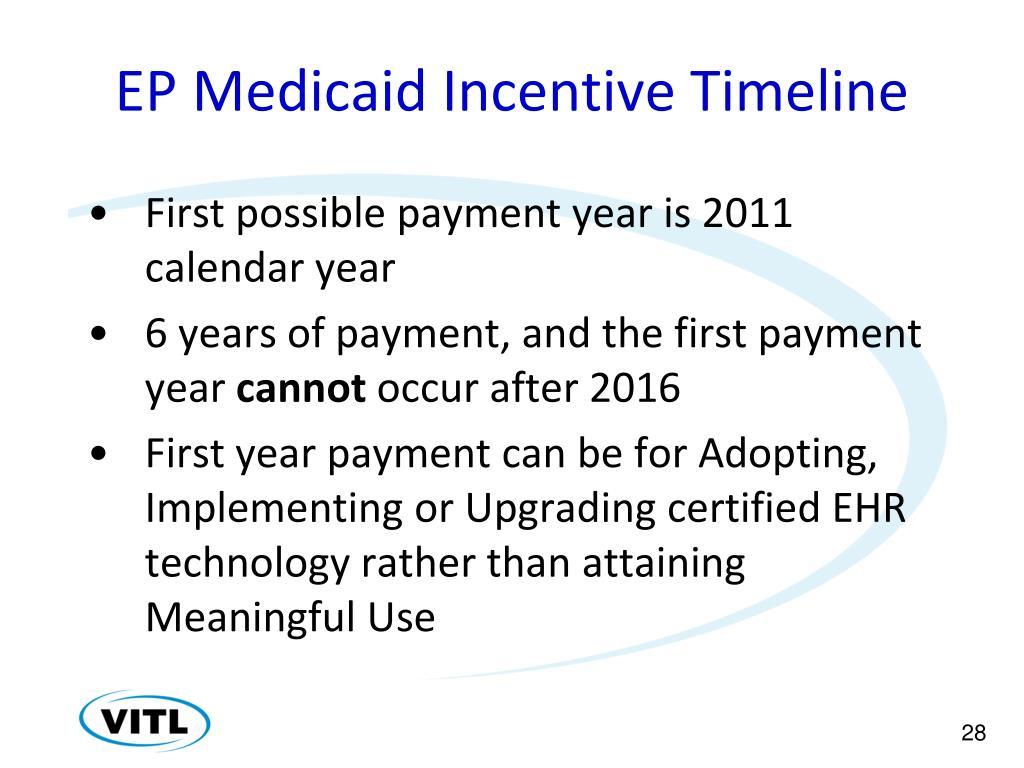 EP Medicaid Incentive Timeline