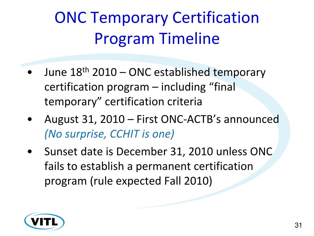 ONC Temporary Certification