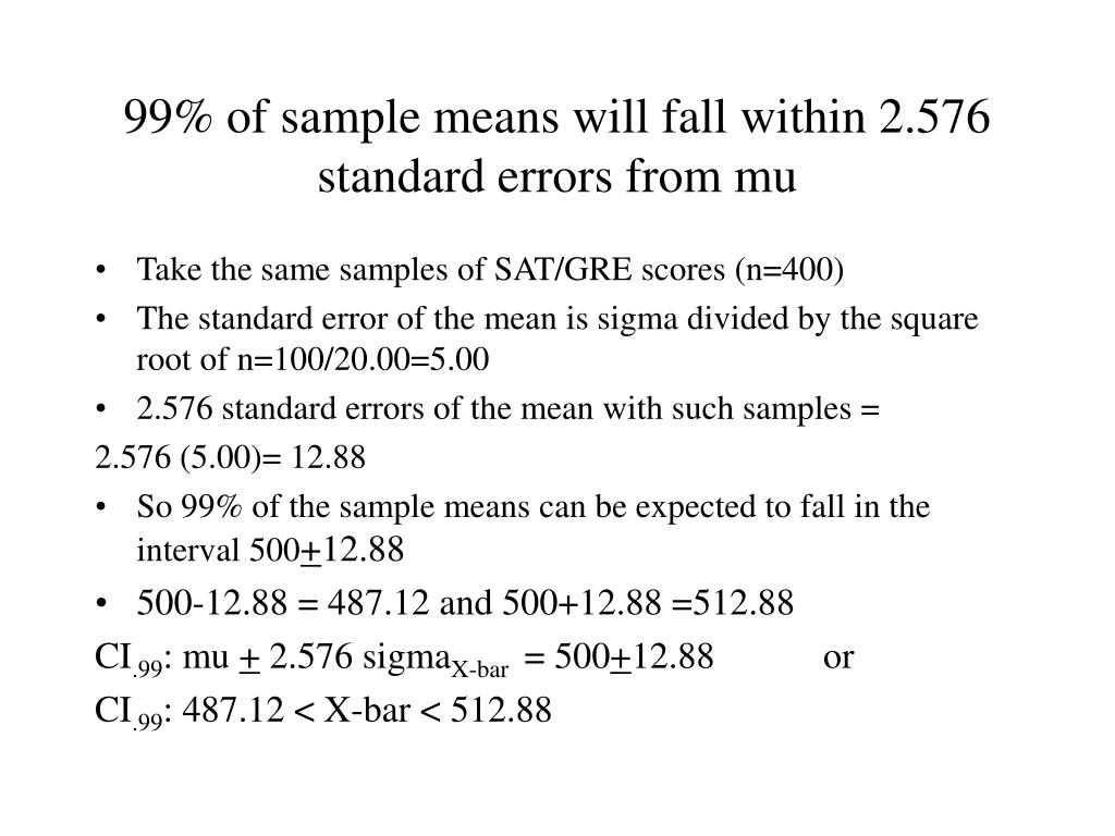 99% of sample means will fall within 2.576 standard errors from mu