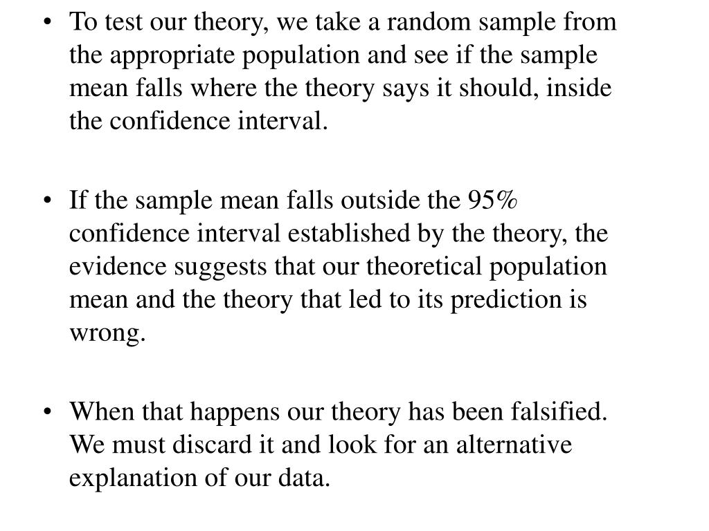 To test our theory, we take a random sample from the appropriate population and see if the sample mean falls where the theory says it should, inside the confidence interval.