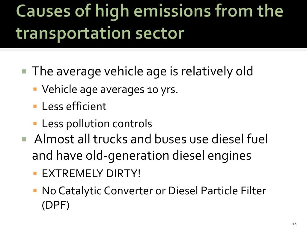 Causes of high emissions from the transportation sector
