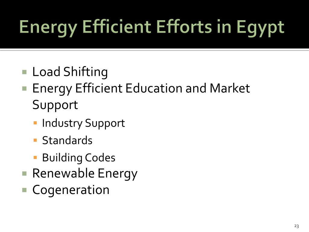 Energy Efficient Efforts in Egypt