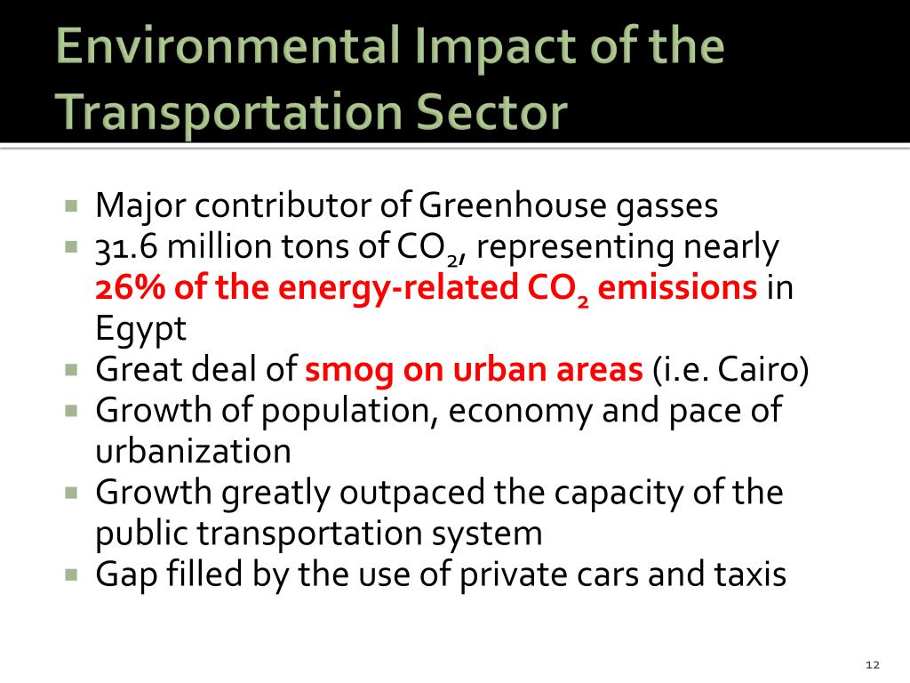 Environmental Impact of the Transportation Sector
