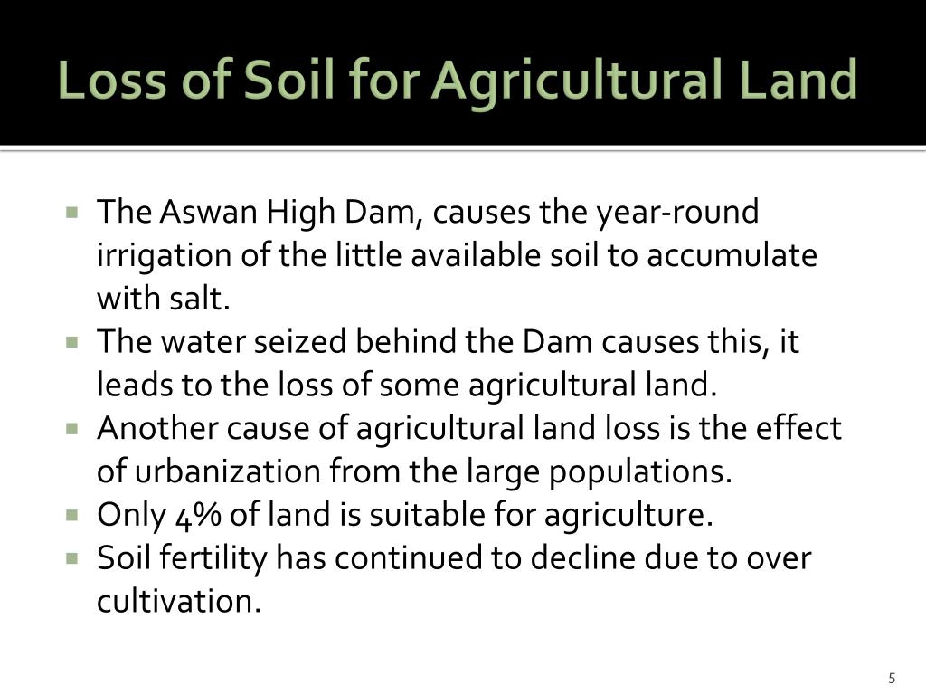 Loss of Soil for Agricultural Land