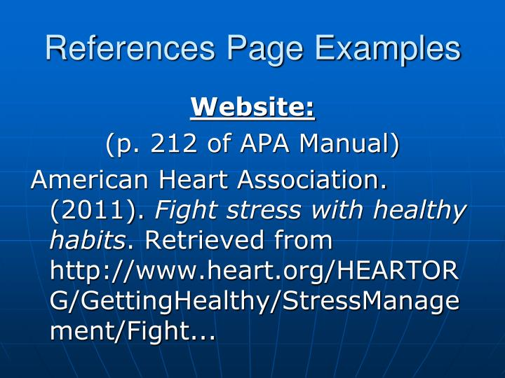 References Page Examples