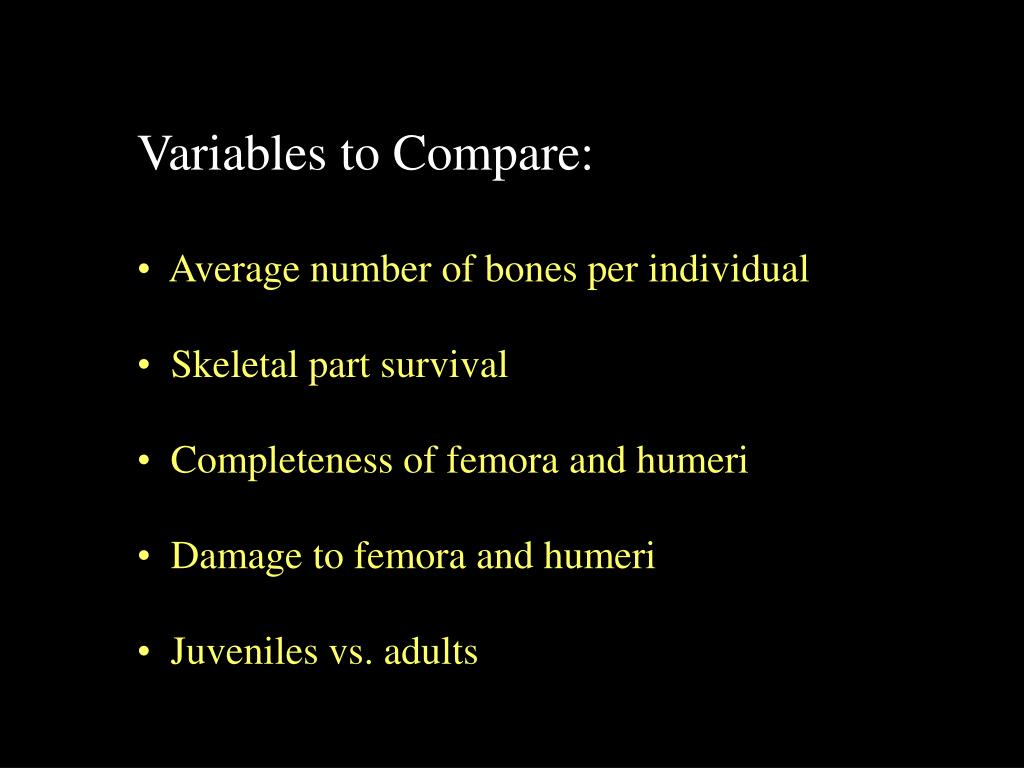 Variables to Compare: