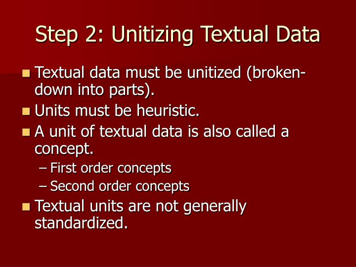 Step 2: Unitizing Textual Data