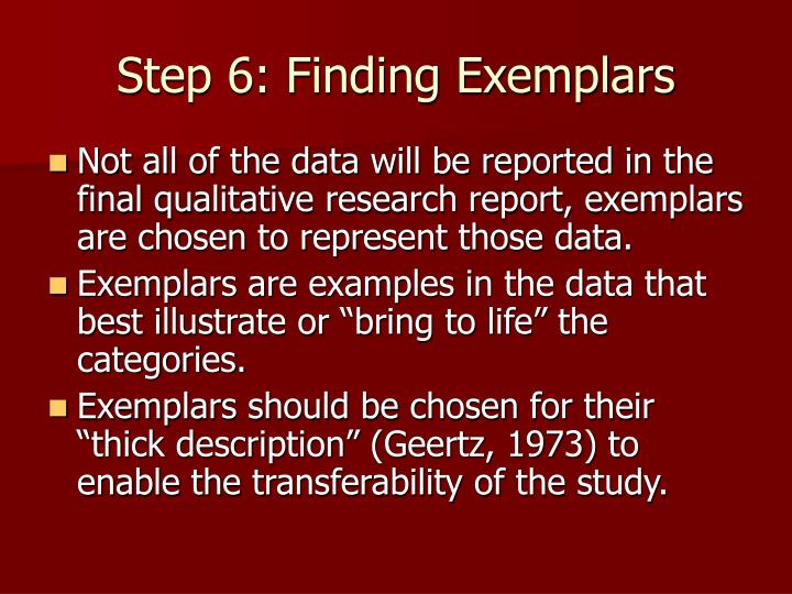 Step 6: Finding Exemplars