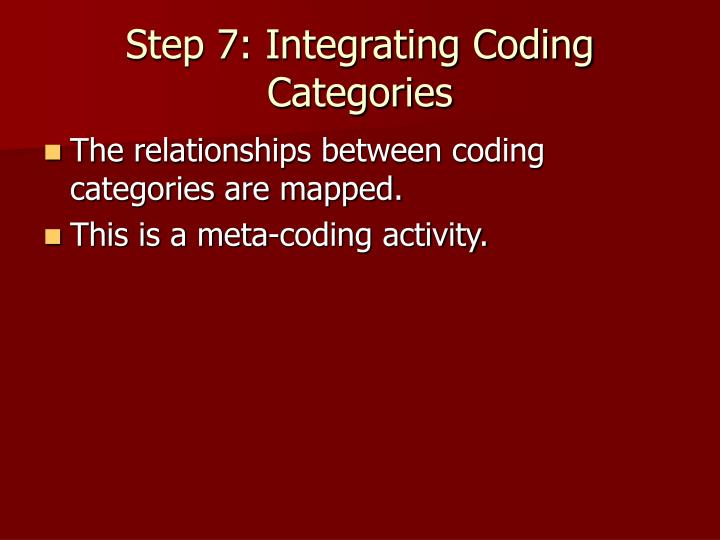 Step 7: Integrating Coding Categories