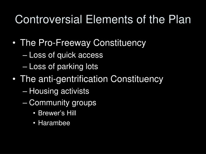 Controversial Elements of the Plan