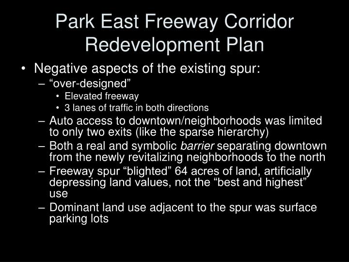 Park east freeway corridor redevelopment plan