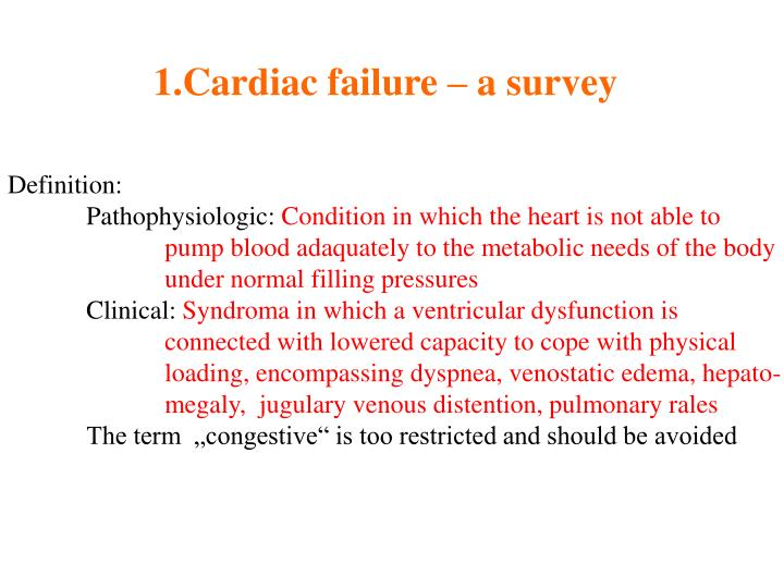 Cardiac failure – a survey