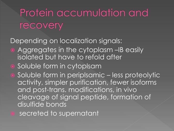 Protein accumulation and recovery