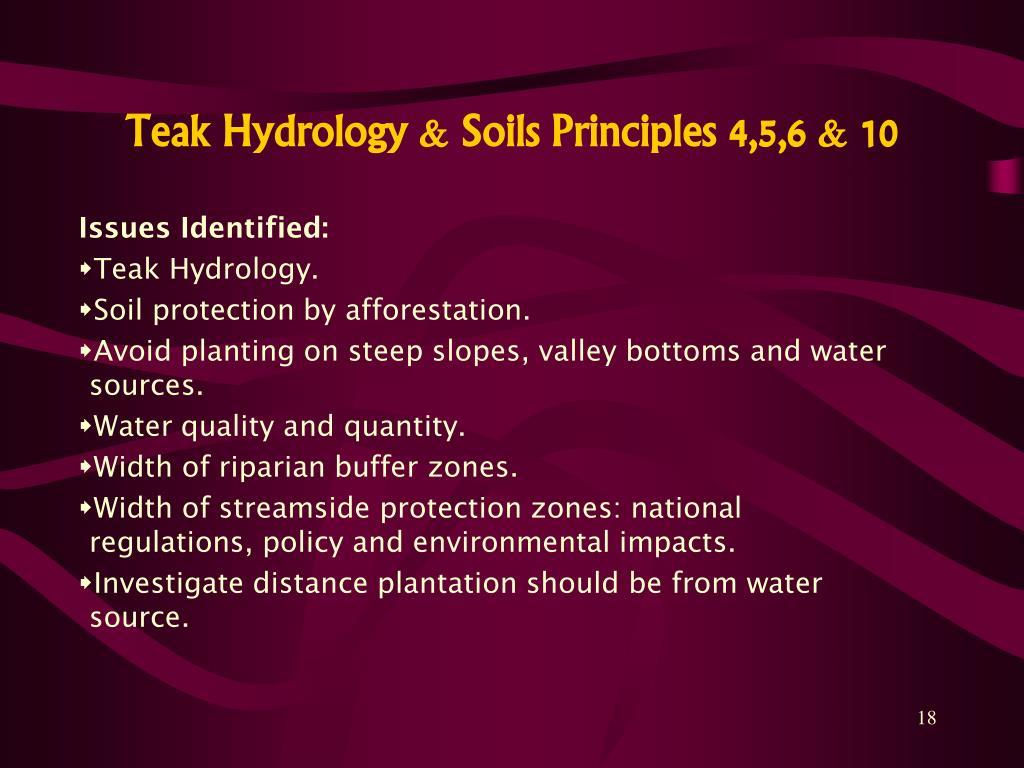 Teak Hydrology & Soils Principles 4,5,6 & 10