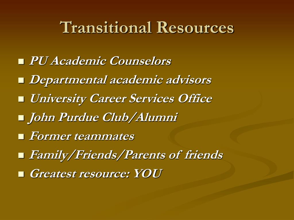 Transitional Resources