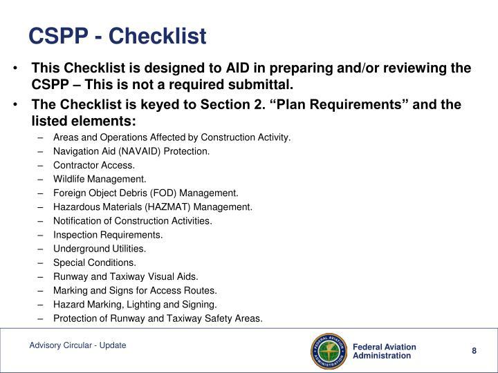 CSPP - Checklist