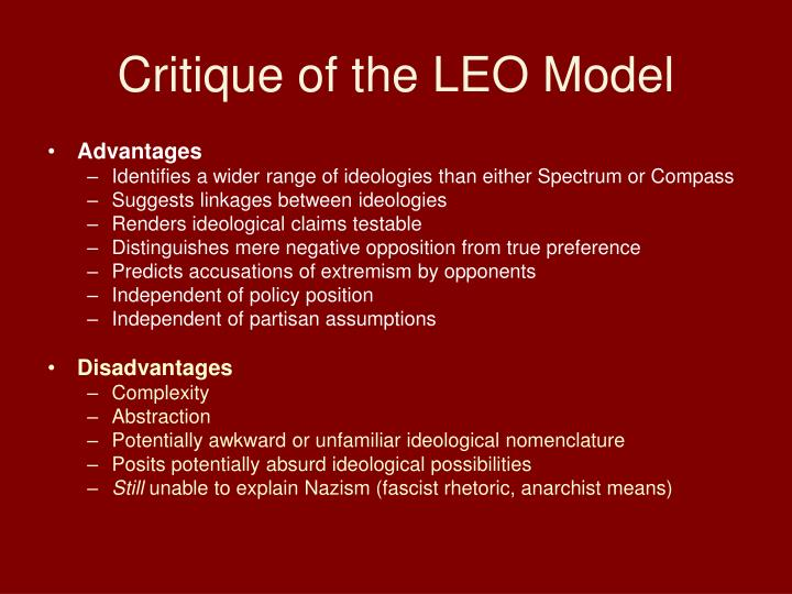 Critique of the LEO Model