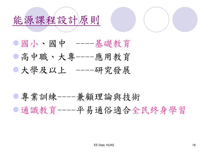 能源課程設計原則
