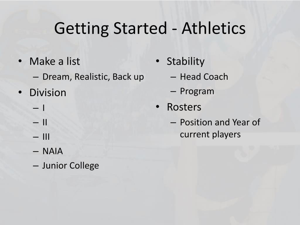 Getting Started - Athletics