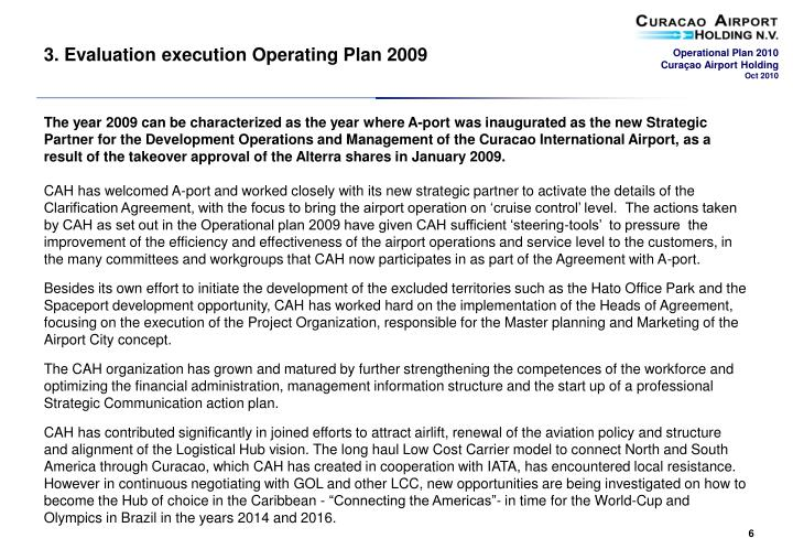 3. Evaluation execution Operating Plan 2009