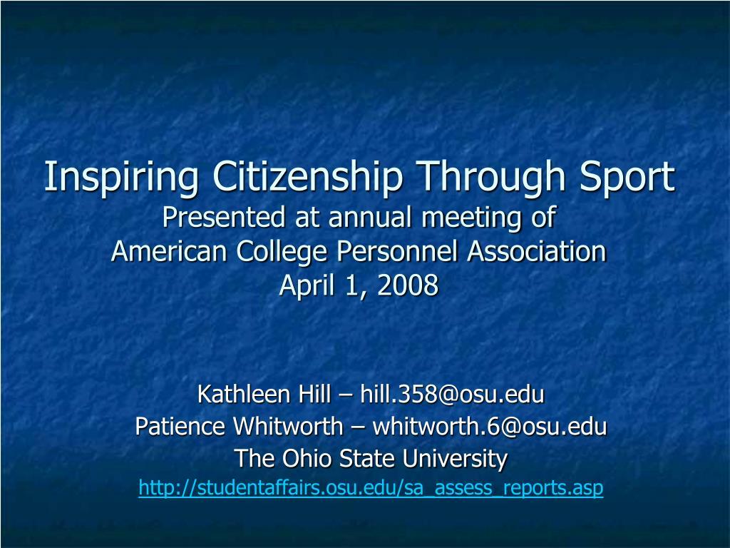 Inspiring Citizenship Through Sport