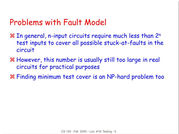 Problems with Fault Model