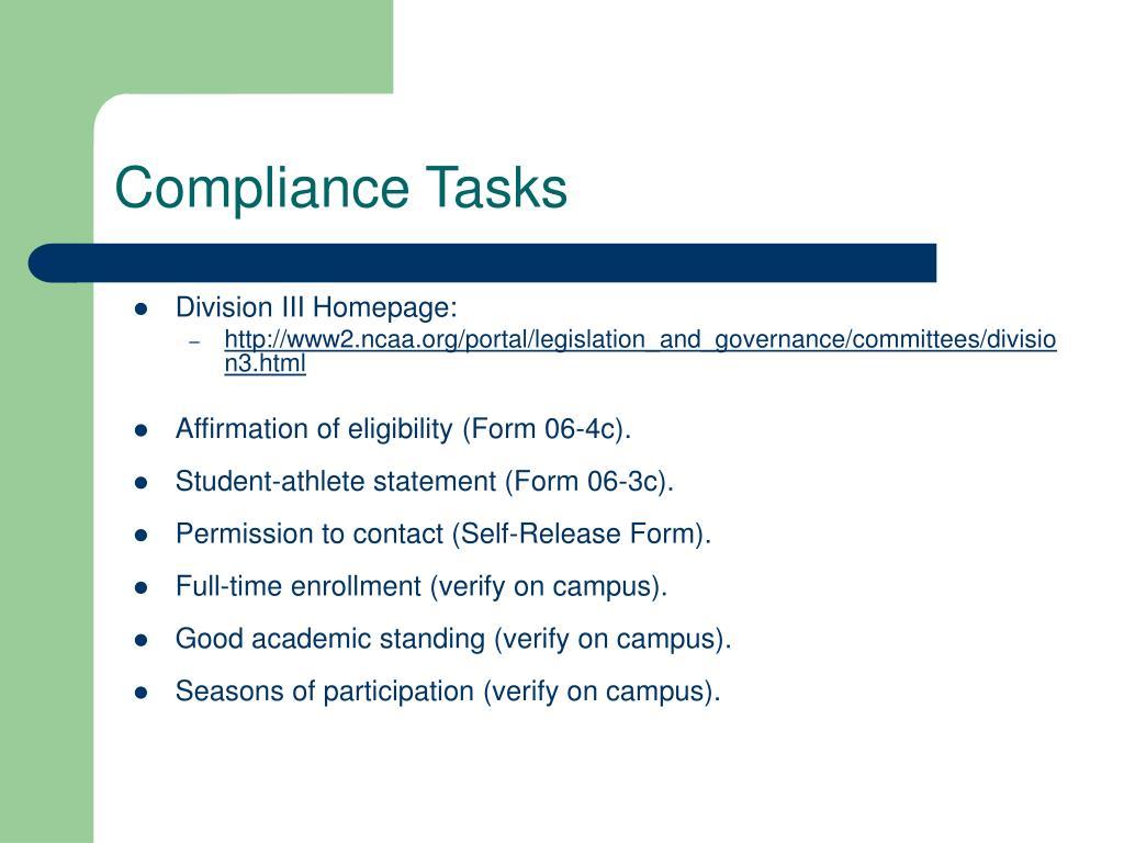 Compliance Tasks