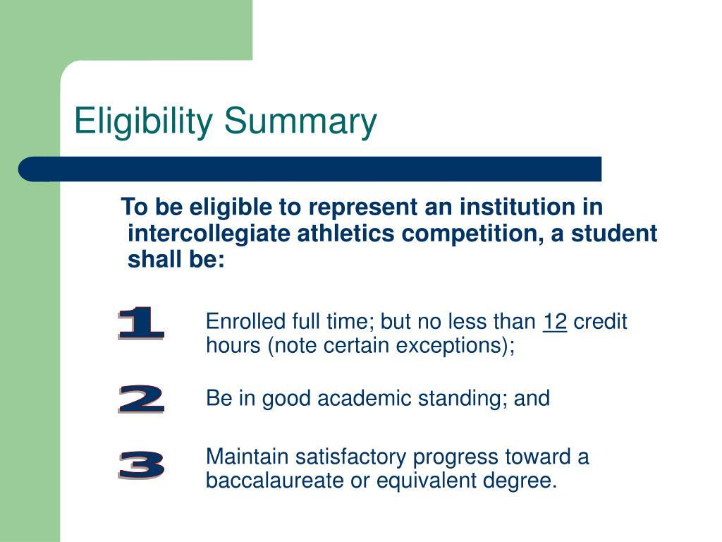 Eligibility Summary