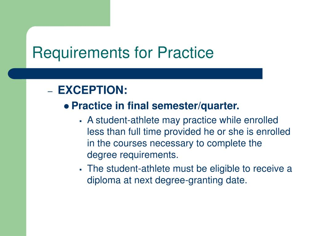 Requirements for Practice
