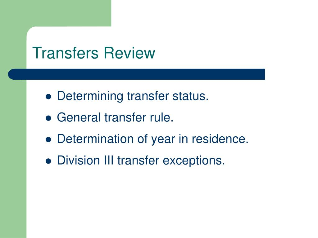 Transfers Review