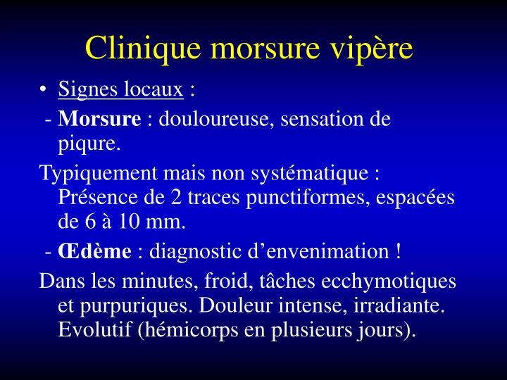 Clinique morsure vipère