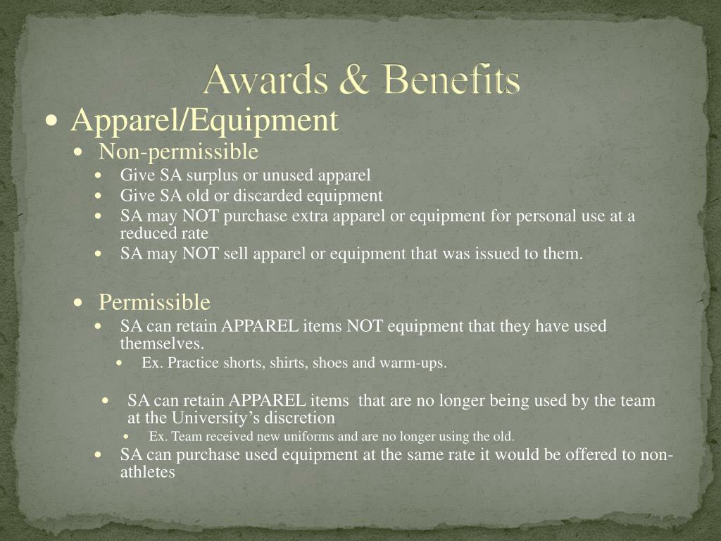 Awards & Benefits