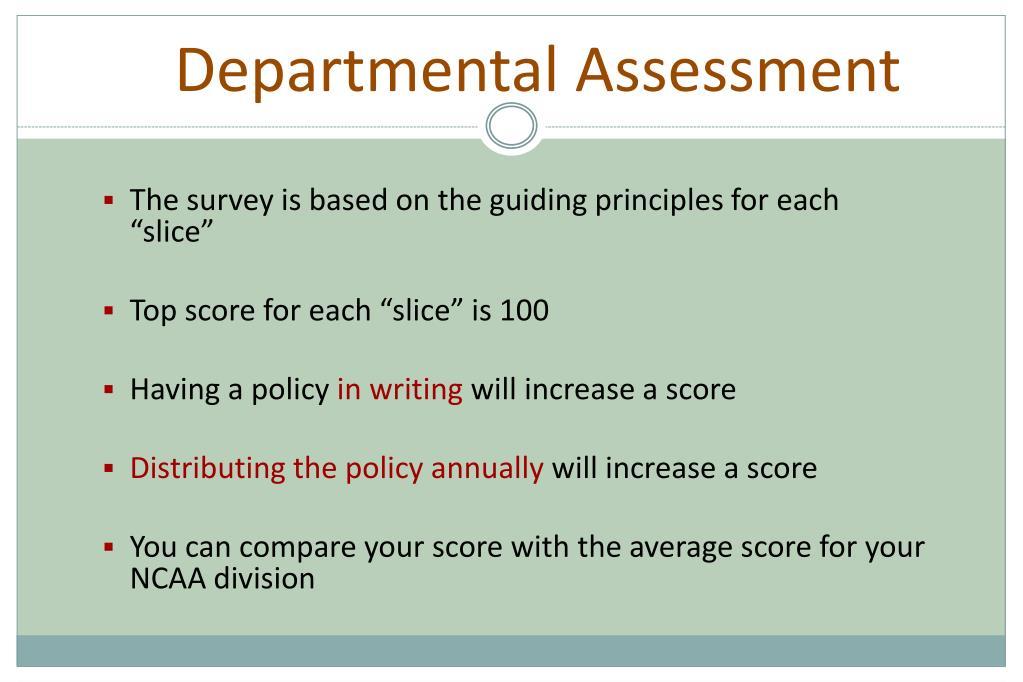 Departmental Assessment