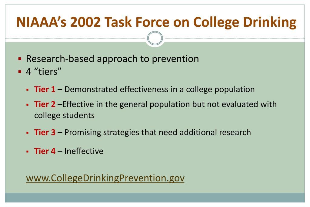 NIAAA's 2002 Task Force on College Drinking