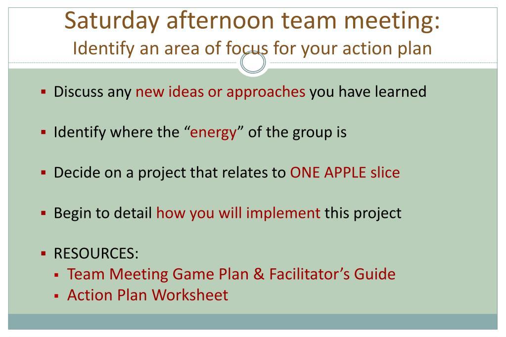 Saturday afternoon team meeting: