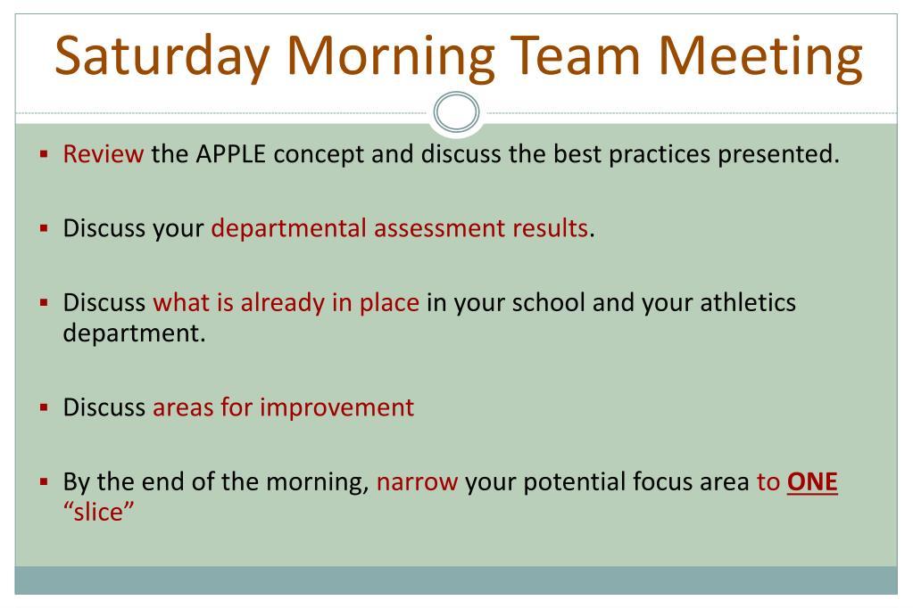 Saturday Morning Team Meeting