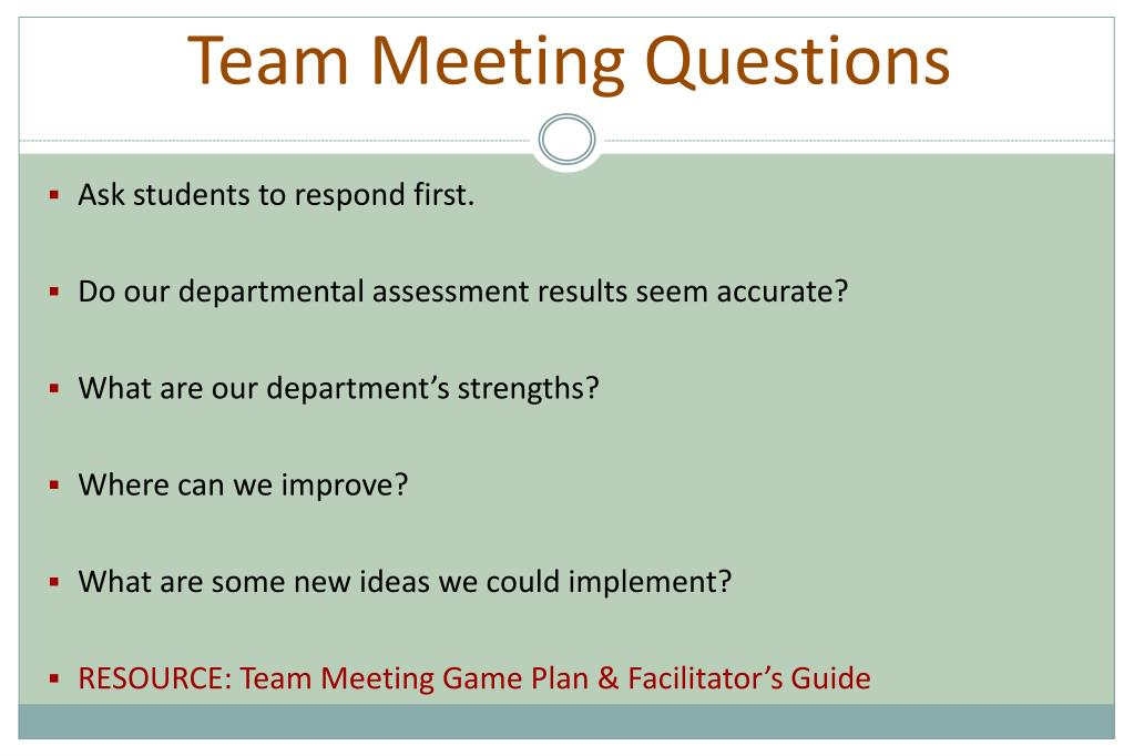 Team Meeting Questions