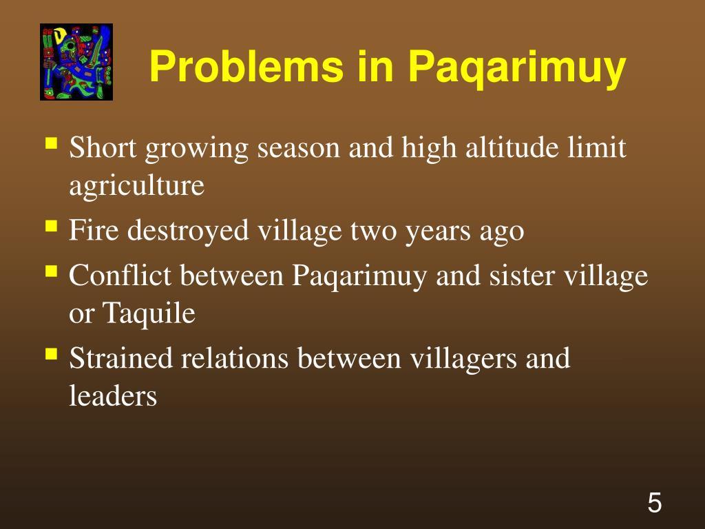 Problems in Paqarimuy