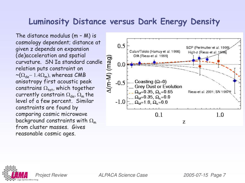 Luminosity Distance versus Dark Energy Density