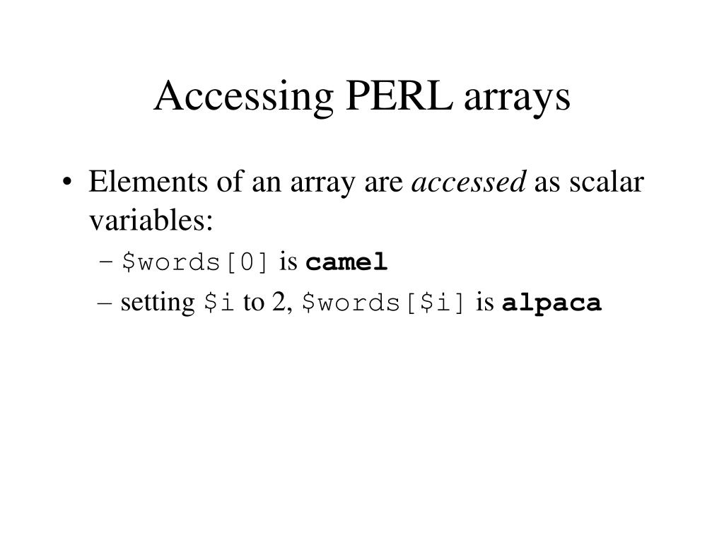 Accessing PERL arrays