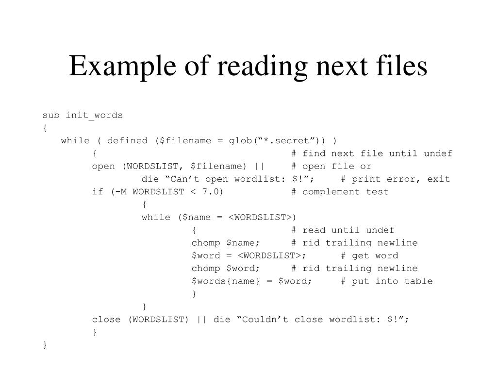 Example of reading next files