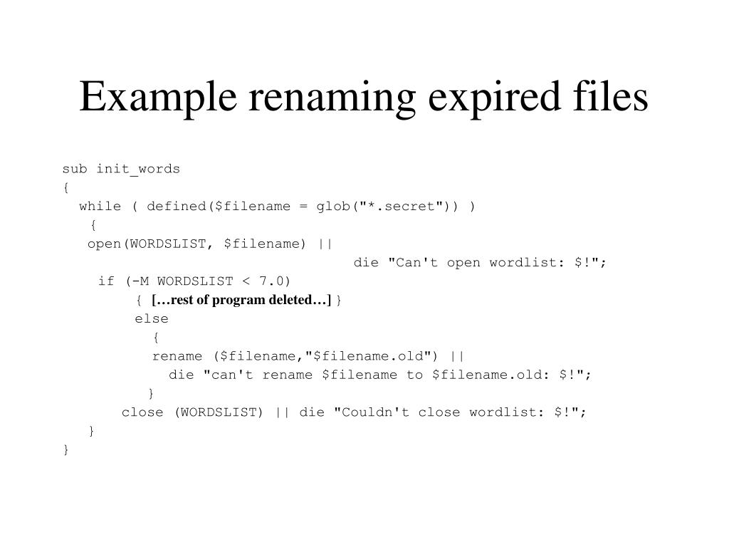 Example renaming expired files