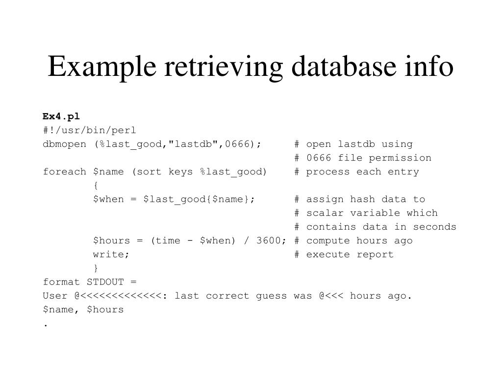 Example retrieving database info