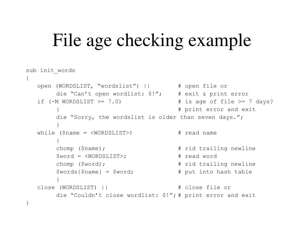 File age checking example