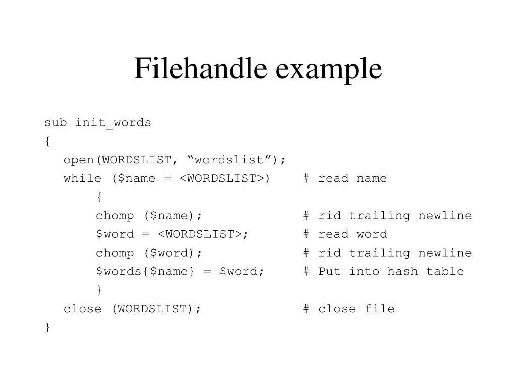 Filehandle example