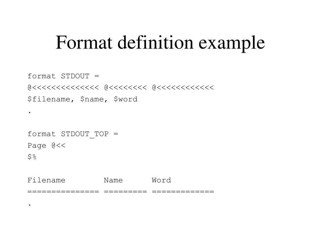 Format definition example