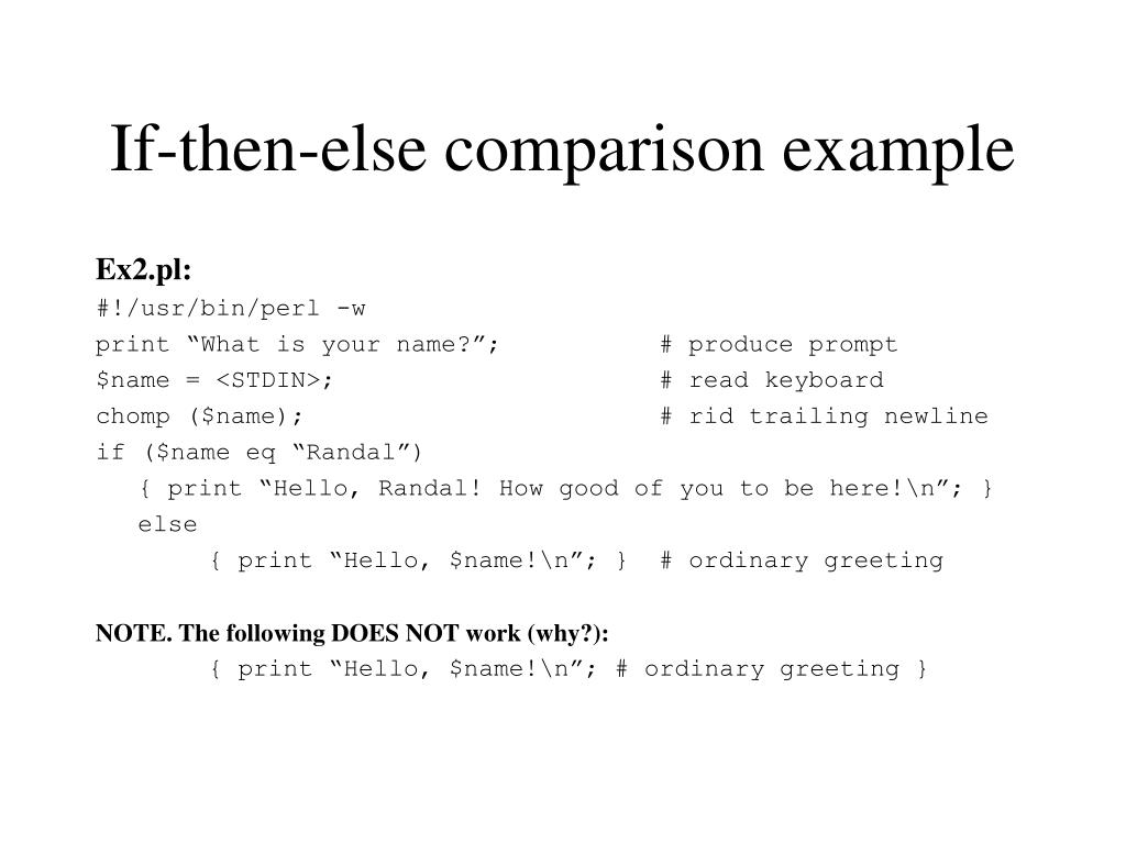If-then-else comparison example